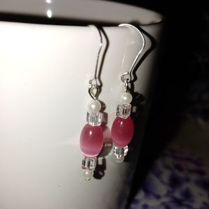 Pink glass, faux pearl, and cube beaded earring